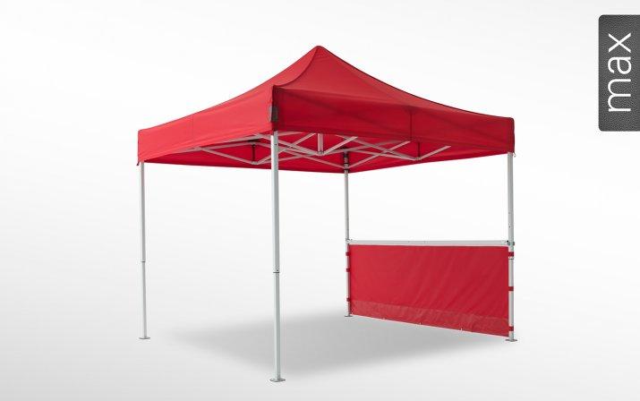 Eine rote halbhohe Seitenwand ist an einem 3x3 m großen Faltpavillon der Linie max angebracht (mit Klettverschlusslaschen). Das Label am rechten Rand zeigt, dass der Faltpavillon in der Linie max erhältlich ist.
