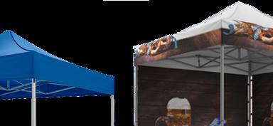 Blauer atento Faltpavillon ohne Seitenwände neben einem vollflächig bedruckten Faltpavillon im Oktoberfest-Look von RUKU.