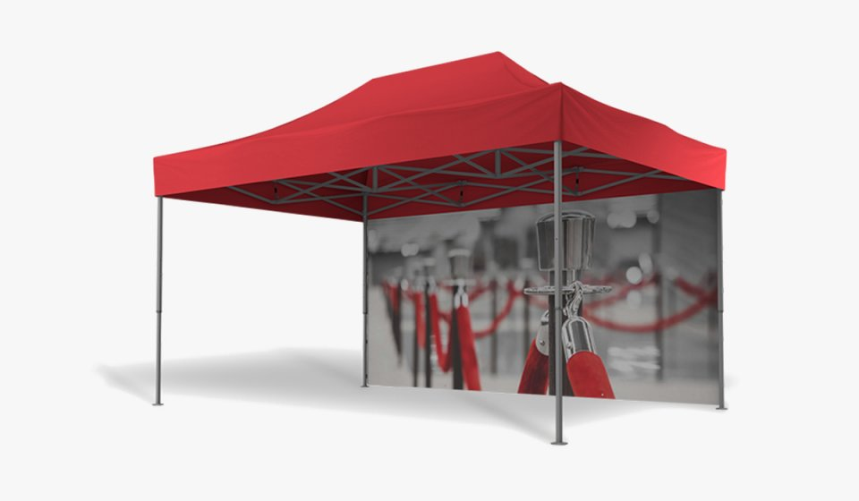 Ein roter Faltpavillon der Größe 4,5x3 m mit bedruckter Seitenwand (Motiv: Messe).