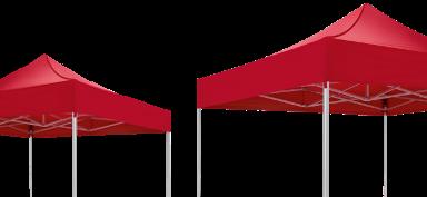 Zwei verschieden große rote atento Faltpavillons von RUKU.