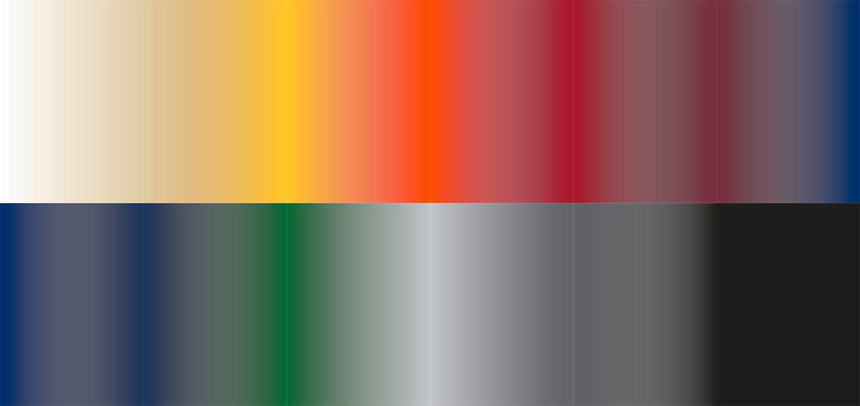 Farbverlauf der 12 Standardfarben für den atento Faltpavillon von RUKU. Der Farbverlauf zeigt die lagernden 12 Stofffarben.