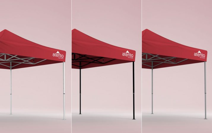 Three canopy tents with 3 different frame colours - white, black and silver.