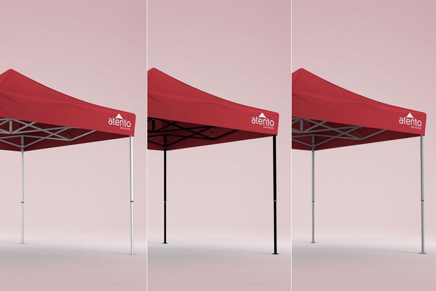Drei mögliche Strukturfarben für den atento Faltpavillon - weiß, schwarz und Aluminium
