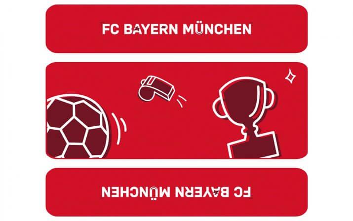 Draufsicht auf die kleine Bierzeltgarnitur Bambini im FC Bayern München Design.