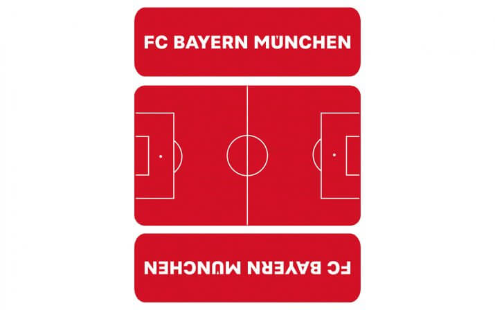 Draufsicht auf die kurze Bierzeltgarnitur Shorty im FC Bayern München Design.