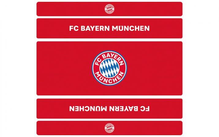 Draufsicht auf die Bierzeltgarnitur mit Lehne im FC Bayern München Design.