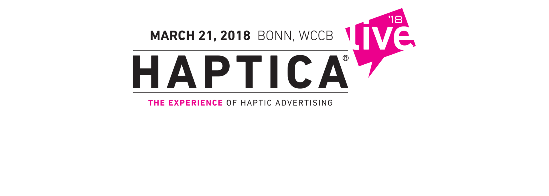 "Logo of the fair ""HAPTICA - The experience of haptic advertising"""