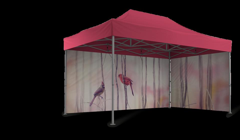 Roter Faltpavillon mit vollfächig bedruckten Seitenwänden. Das Motiv der Seitenwände beinhaltet Äste und zwei Vögel.