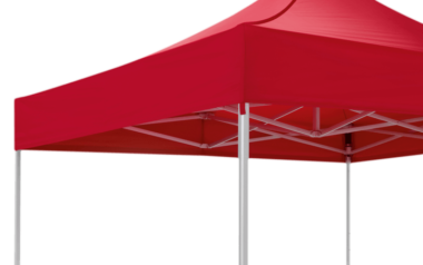 Red canopy tent 3x3 m by RUKU from the view from below.