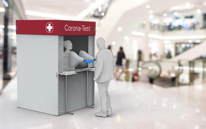 Ein 3D-Rendering der Corona-Testkabine in einem Einkaufszentrum.