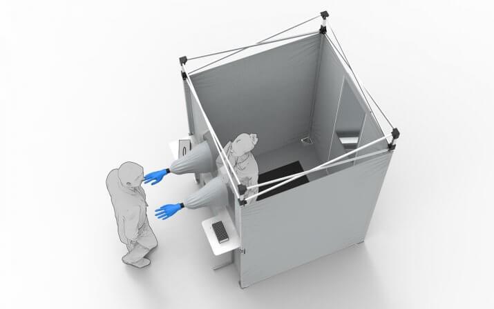 Ein 3D-Rendering der Corona-Testkabine.