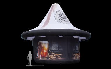 Riesengroßer aufblasbarer Werbeträger in Form eines Tequilas mit personalisierter Bedruckung in schwarz und weiß.
