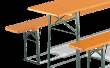 RUKU Bierzeltgarnituren in Kiefer mit normalem Tischuntergestell und zwei Bänken ohne Rückenlehne.