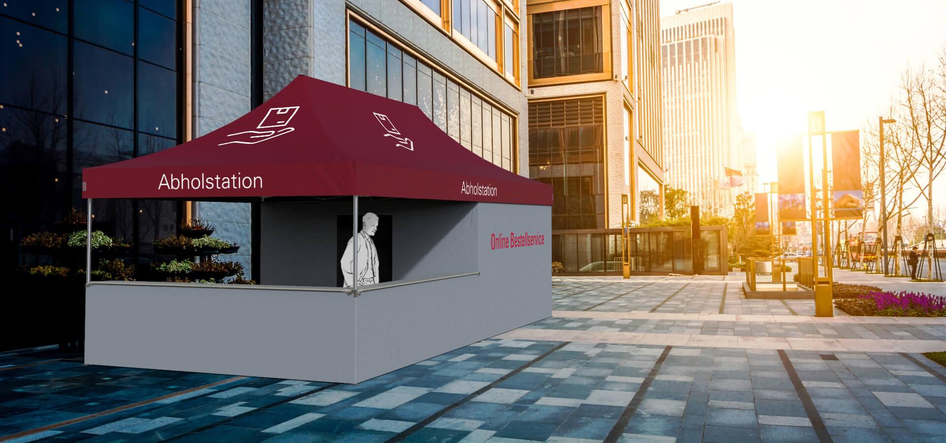 Ein 3D-Rendering der Abholstation in der Stadt. Ein Mann steht hinter der Theke.