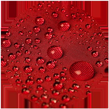 Rotes hochwertiges Polyestergewebe für atento Faltpavillons. Das Polyestergewebe lässt Wassertropfen abperlen.
