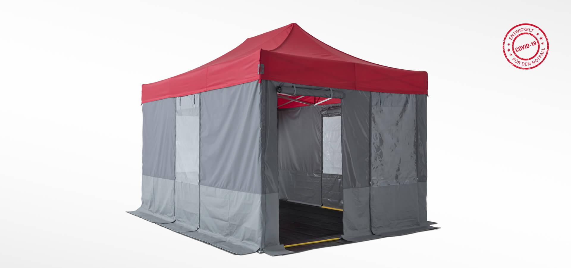 Das Sanitätszelt mit dem Hinweis-Stempel, dass das Zelt speziell für Notfälle und Covid-19 entwickelt wurde.