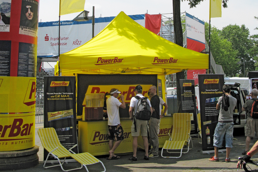 Yellow promo tent for PowerBar with a yellow sidewall.