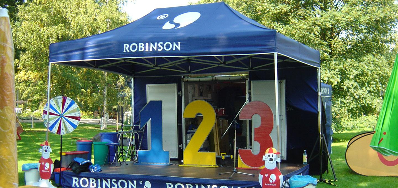 Blauer Faltpavillon von Robinson mit den Zahlen 1, 2 und 3 darunter.