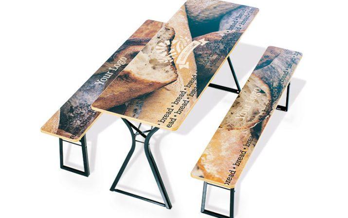 Festzeltgarnitur mit Brot bedruckt und personalisiert