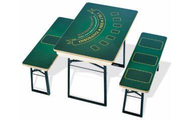 Kurzer Festzelttisch zum Pokertisch umfunktioniert mit vollflächiger Bedruckung.