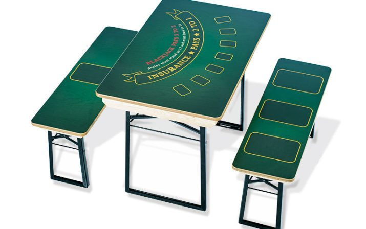 Festzeltgarnitur als Pokertisch bedruckt