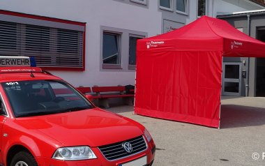 Red canopy tent from the fire brigade Schongau
