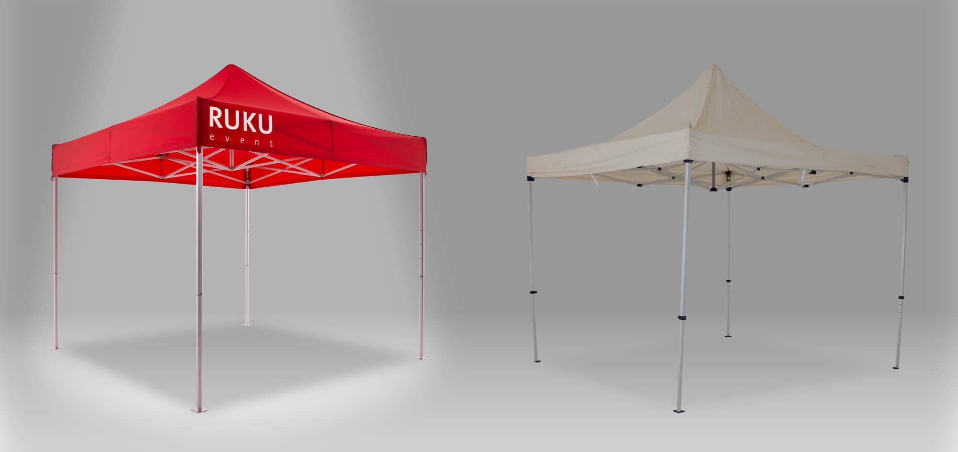 Roter RUKUevent Faltpavillon im Vergleich zu einem beigen Faltpavillon eines anderen Anbieters