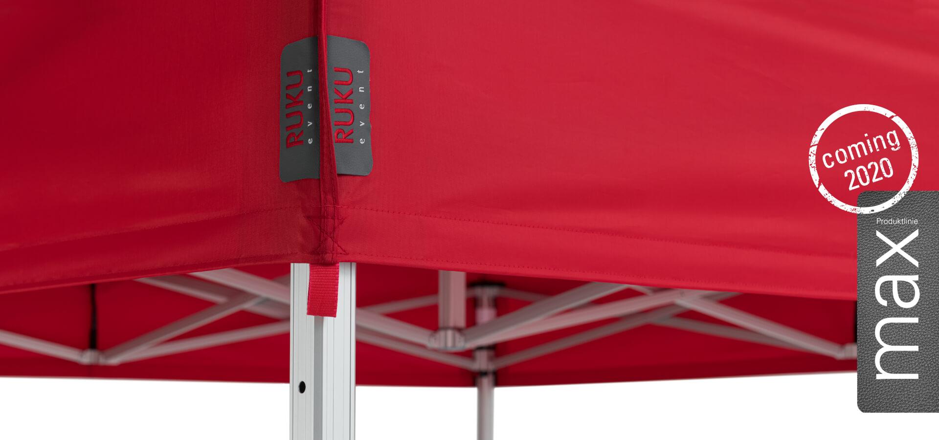 Die neue Faltpavillon Produktlinie wird mit einem Banner für 2020 angekündigt.