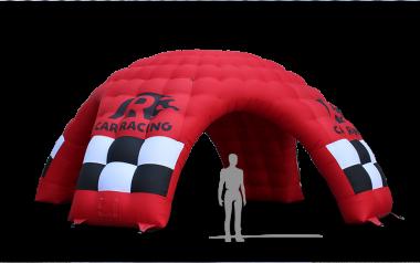 Roter aufblasbarer Werbeträger MS5 mit der passenden Bedruckung für Racing.