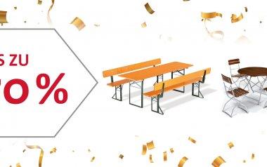 Großer Räumungsverkauf bei RUKUevent: Bierzeltgarnituren und Gartenmöbel bis zu -70%