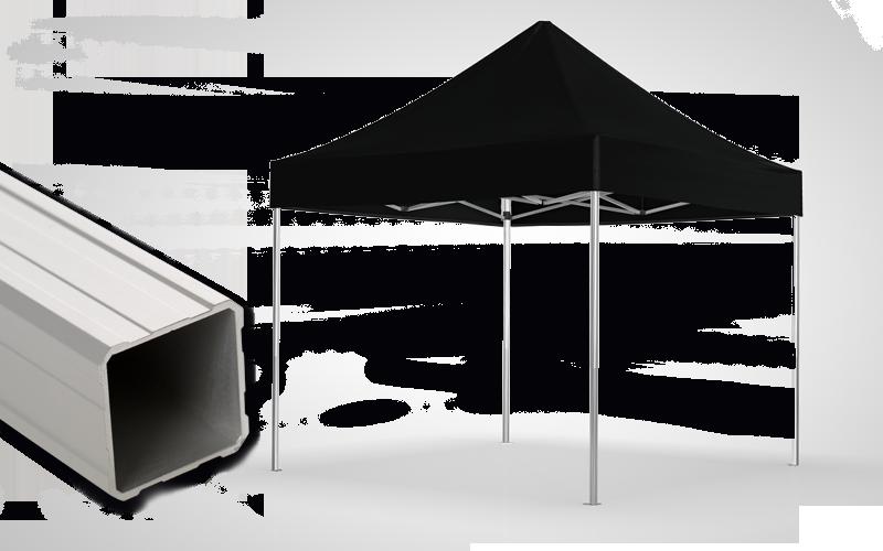 Schwarzer Faltpavillon mit Detailansicht der Struktur - Ausführung atento 38.