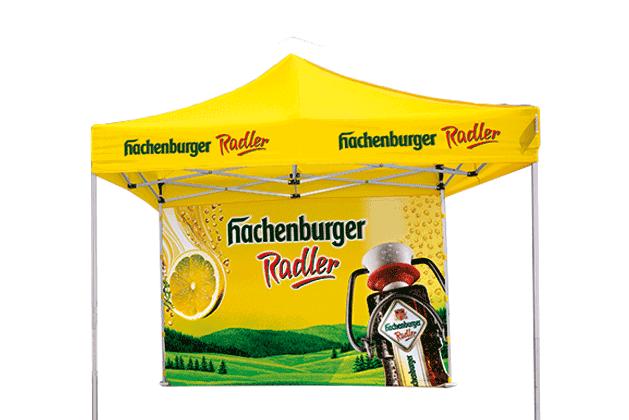 Gelber Faltpavillon 3x3 m mit dem Logo von