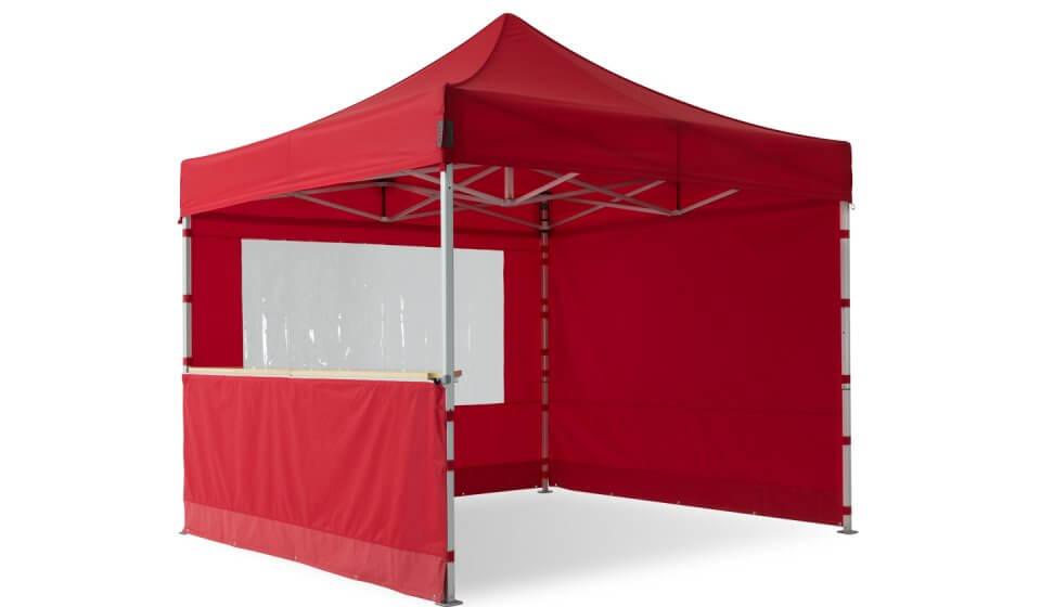 Roter Faltpavillon der Größe 3x3m mit drei unterschiedlichen Seitenwänden - alle in der Farbe Rot: geschlossene Seitenwand, Seitenwand mit Panoramafenster und halbhohe Seitenwand mit Theke.