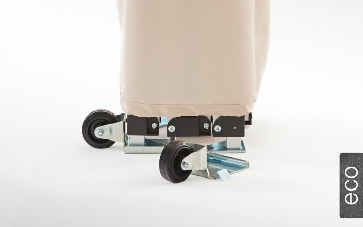 Practical transport wheels for canopy tents, which can be easily attached to the foot plates of the tent legs.