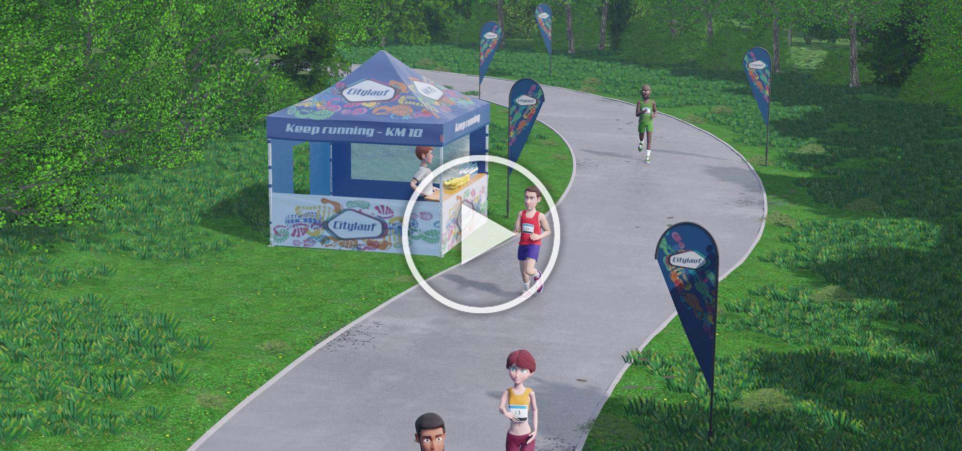 Ausschnitt des Videos zum Eventzelt, das im Rahmen eines Marathons eingesetzt wird, mit Play-Button.
