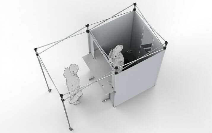 Die Draufsucht auf ein 3D-Rendering der Warenannahme-Station.