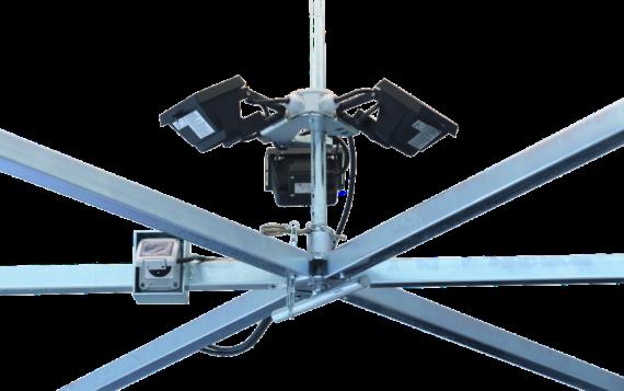 Beleuchtungssystem für Bierstände am Mittelpfosten montiert.